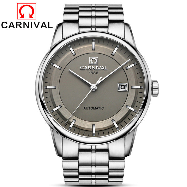 9295555d0 ... Carnival Automatic Mens Business Stainless Steel Strap Mechanical  Wristwatch with Calendar 3 Bar Waterproof 2018 ...