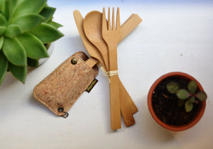 Bamboo Travel Utensil Set - Cork Pouch