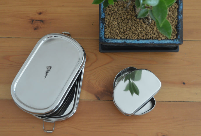 Oval Stainless Steel Lunch Box with Mini Container
