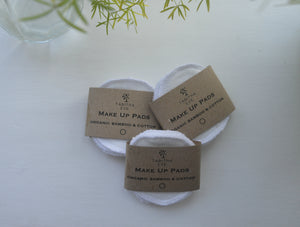 Organic Cotton and Bamboo Reusable Make Up Wipes - Pack of 5