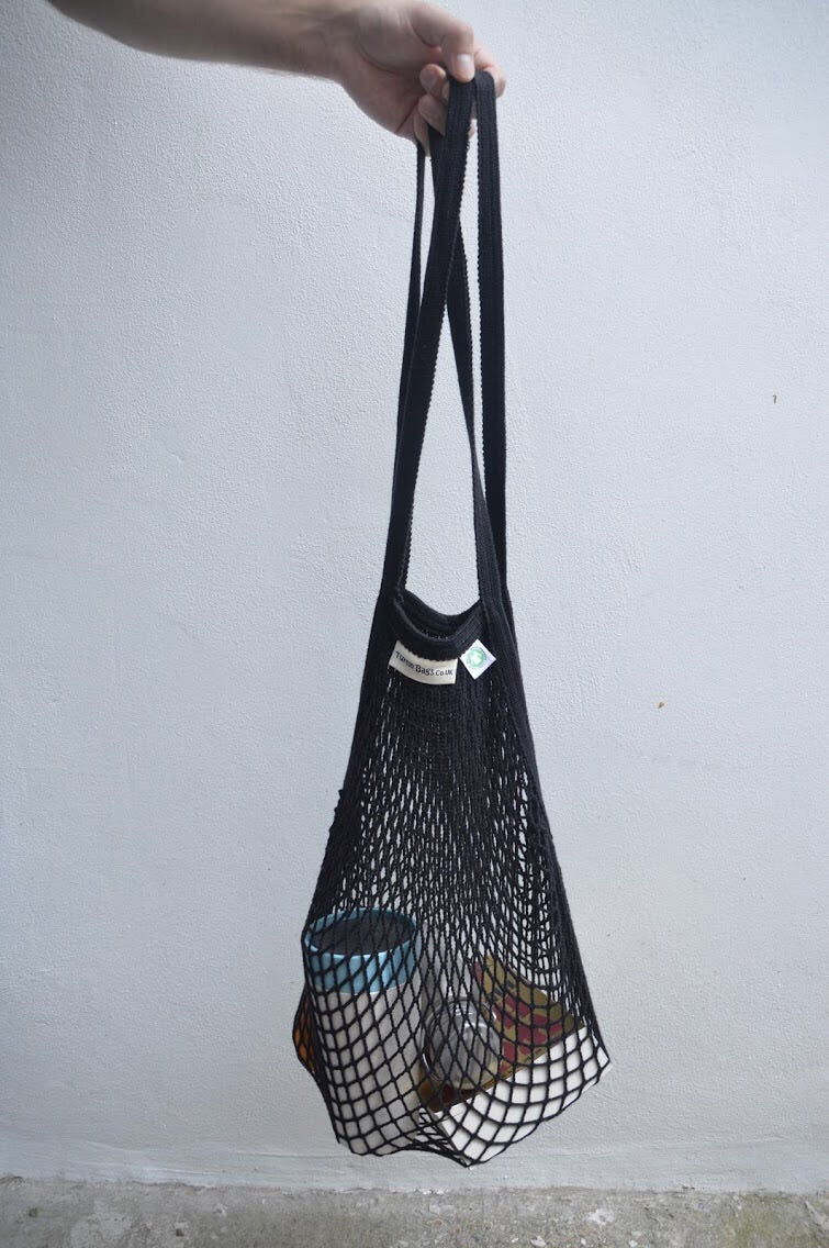 Black Cotton Turtle Bag Long Handle
