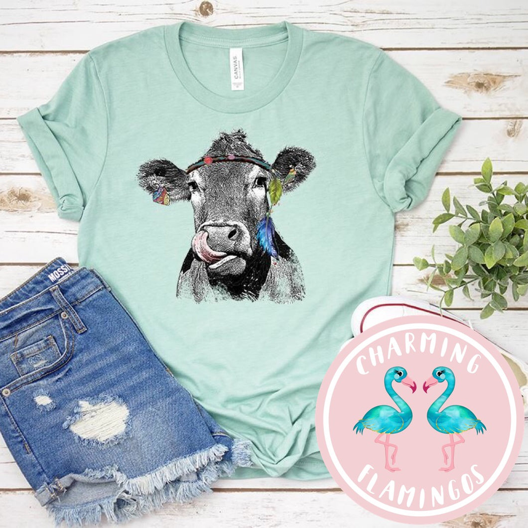 Cow W/ A Headband Graphic Tee