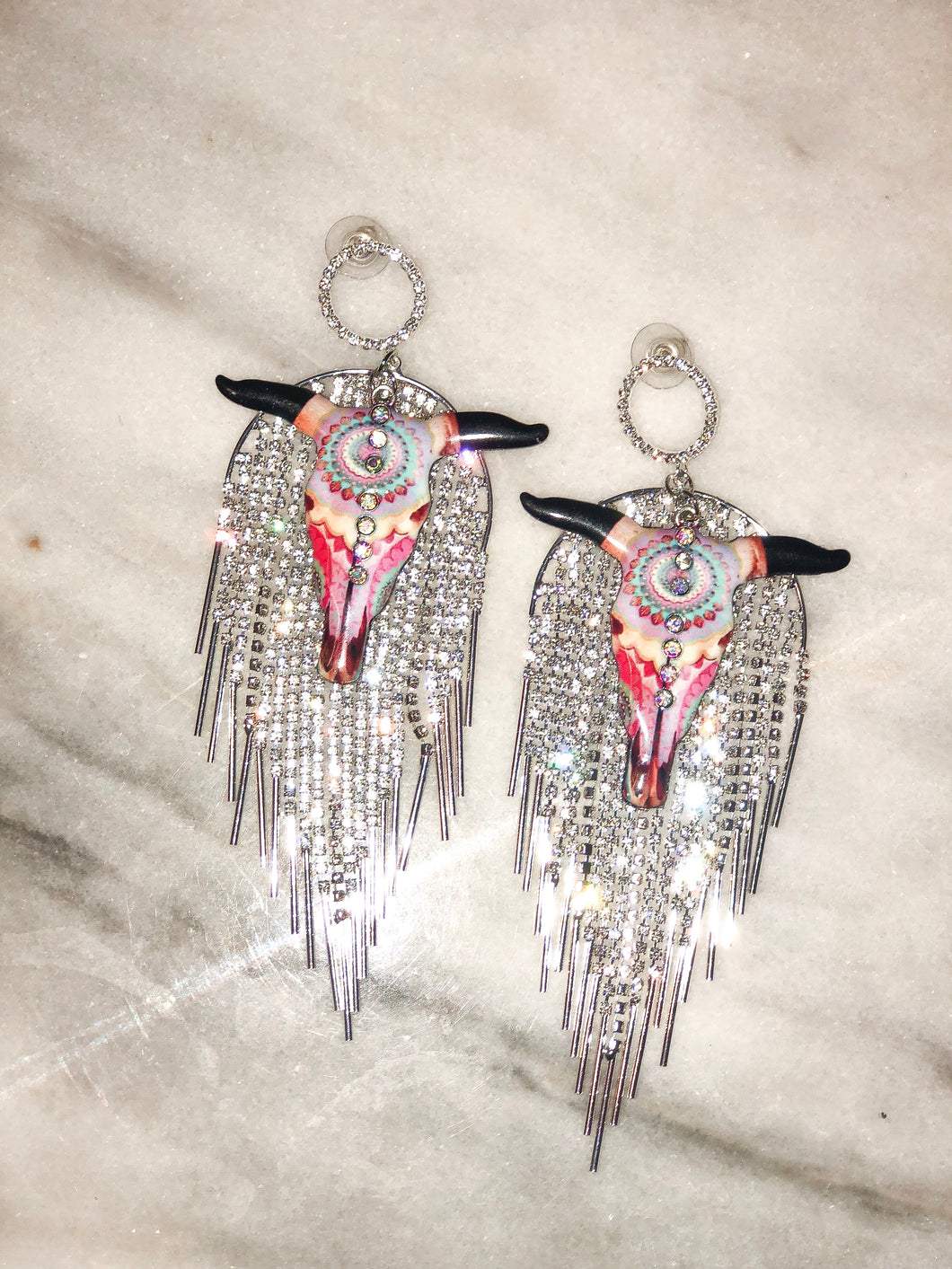 Bull Head Crystal Earrings