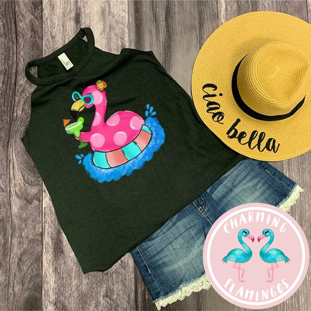 Flamingo Margarita Float Graphic Tank