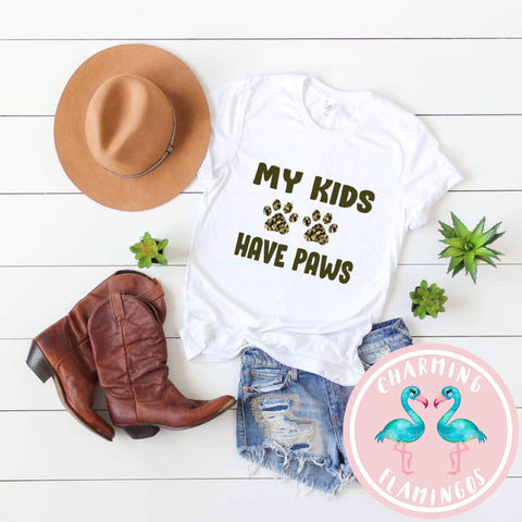 My Kids Have Paws Camo Print Graphic Tee