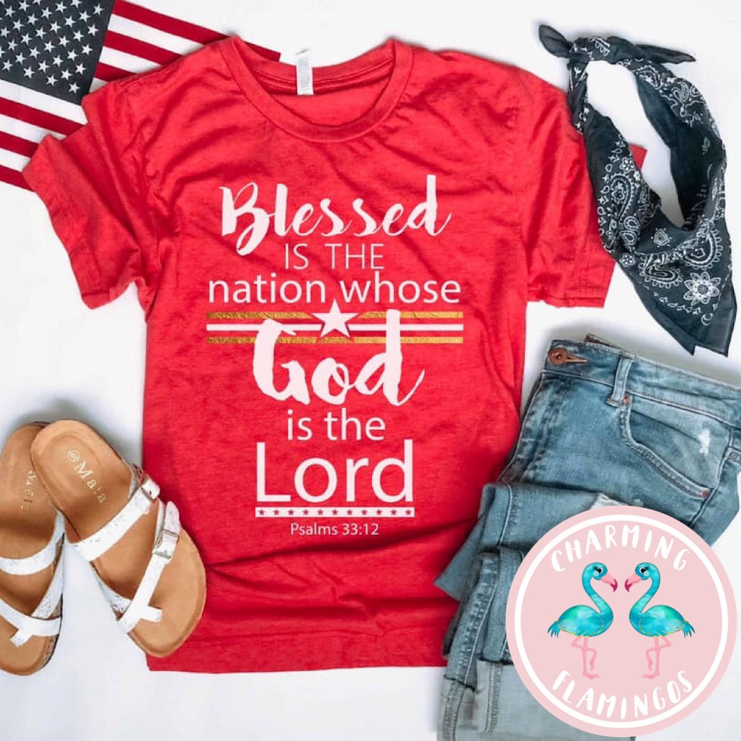 Blessed Is The Nation Red Graphic Tee