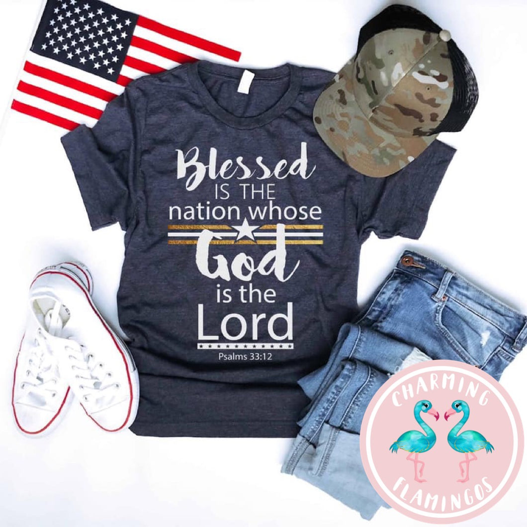 Blessed Is The Nation Gold Stripe Graphic Tee
