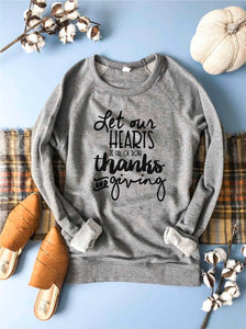 Let Our Heart Be Full Of Giving & Thanks Graphic Raglan