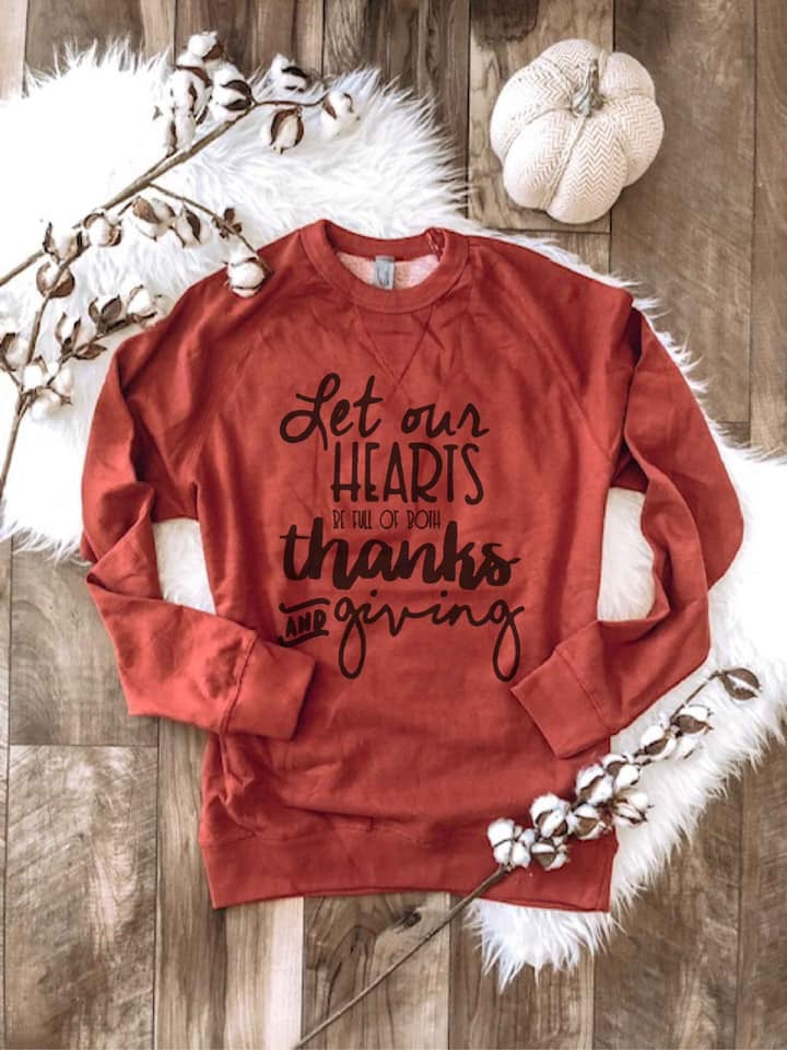 Let Our Hearts Be Full Of Thanks & Giving Graphic Raglan Sweater