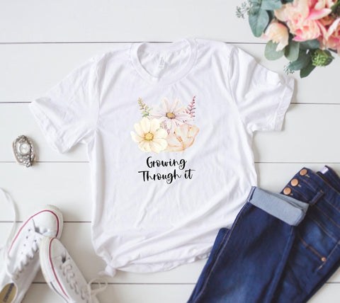 GROWING THROUGH IT FLORAL GRAPHIC TEE