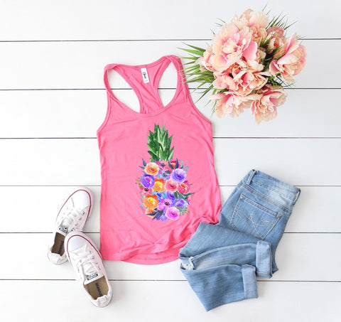 FLORAL PINEAPPLE GRAPHIC TANK