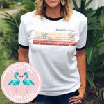Beach Love Palm Trees and Sunset Ringer Tee