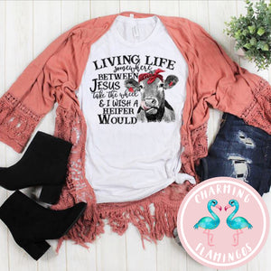 Living Life Between Cow Graphic Tee