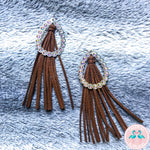 Rhinestone Leather Tassel Earrings