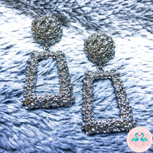 Rectangle Silver Textured Earrings