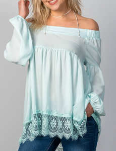 Teal Lace Hem Top