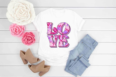 TIE DYE PINK LOVE GRAPHIC TEE
