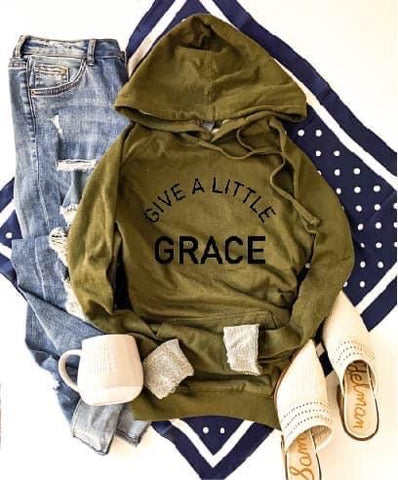 GIVE A LITTLE GRACE HOODIE OLIVE