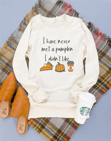 Never Met A Pumpkin I Didn't Like French Terry Raglan Cream