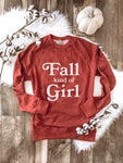 Fall Kind Of Girl French Terry Raglan Burnt Orange