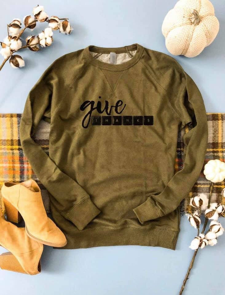Give Thanks Olive Raglan