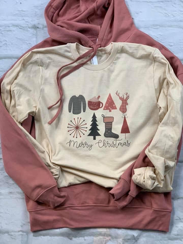 Merry Christmas Cream Long Sleeve