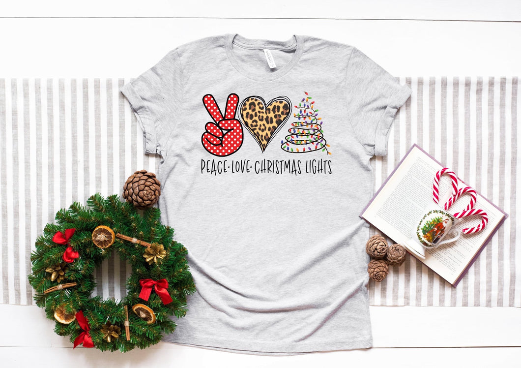 Peace ✌🏻 Love ❤️ & Christmas 🎄 Lights Graphic Tee