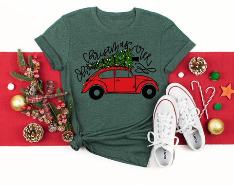 Oh Christmas 🎄 Tree Red Volkswagen Beetle Graphic Tee