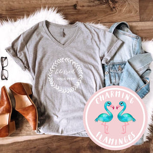 Blessed Mama Grey Graphic Tee