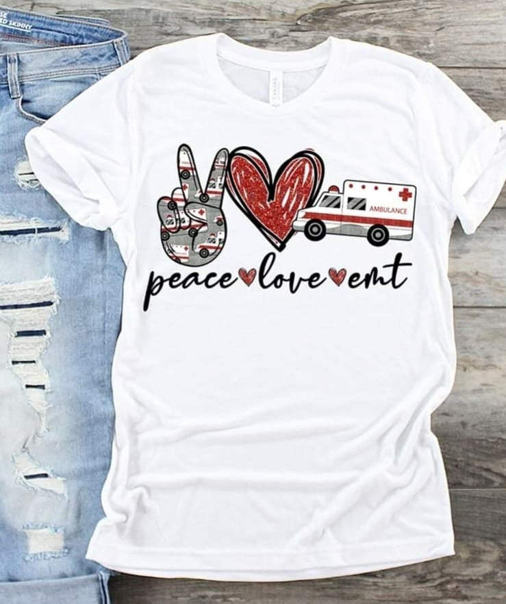 Peace ✌🏻 Love ❤️ EMT Graphic Tee