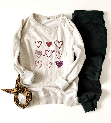 All The Hearts Raglan Sweater ❤️