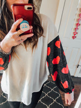 Heart Detail Gray Sleeve White Waffle Top