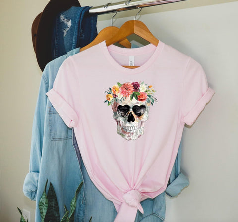 Floral Skull 💀 Heart Eyes Graphic Tee