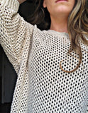 Cream Metallic Knit Sweater L/XL