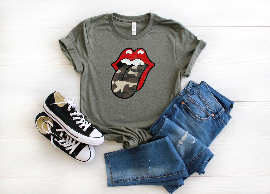 Camo Tongue Out Graphic Tee