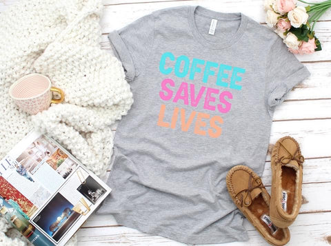 Coffee Saves Lives Pastel Graphic Tee