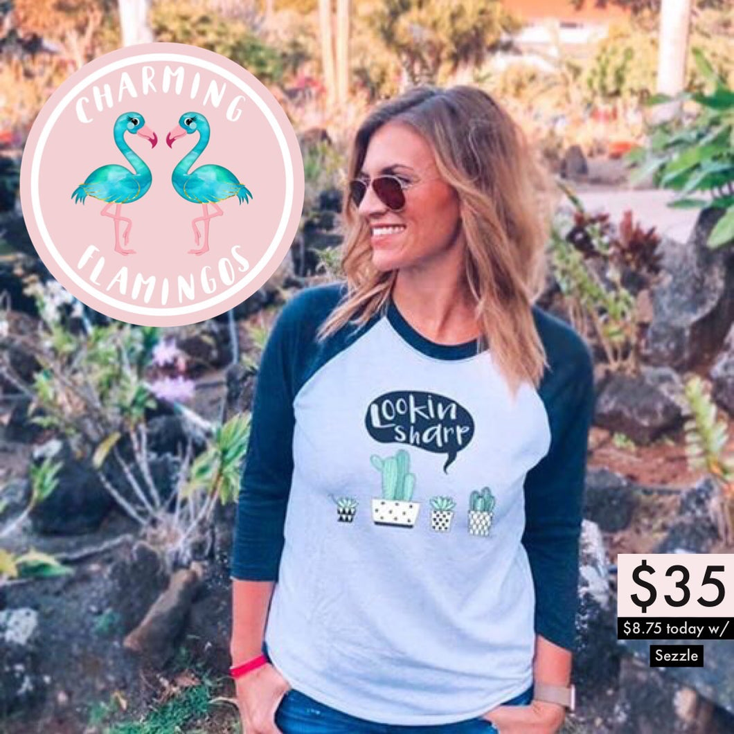 Lookin Sharp Cactus Raglan Graphic Tee 🌵