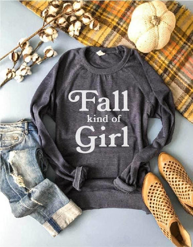 Fall Kind Of Girl French Terry Raglan Charcoal