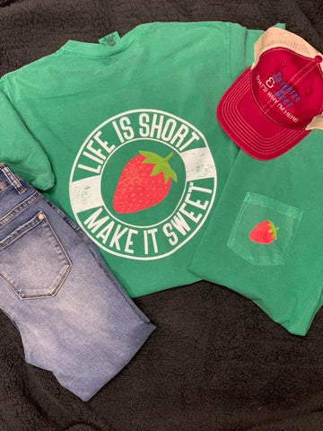 Life Is Short Make It Sweet 🍓 Pocket Long Sleeve Graphic Shirt