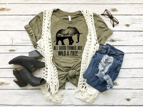 All Good Things Are Wild & Free Elephant 🐘 Graphic Tee