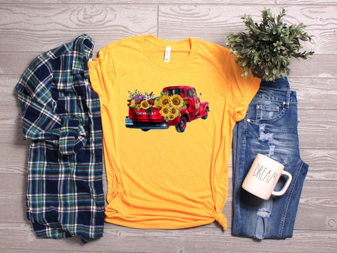 Red Truck w/ Sunflowers 🌻 Tee