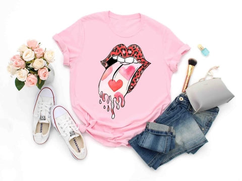 ROLLING STONES HEART ❤️ CHEETAH TONGUE GRAPHIC TEE