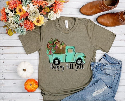 Happy Fall Y'all Blue Truck Graphic Tee