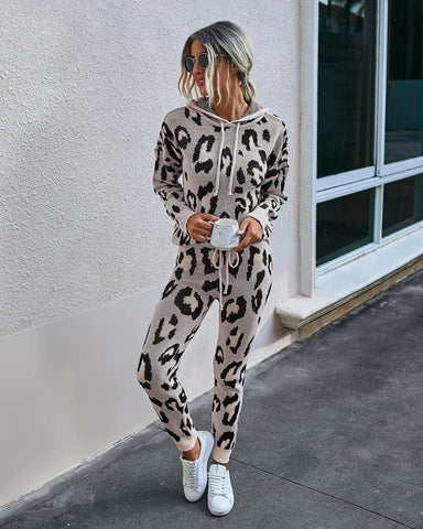 Leopard Lounge Knit Set Brown