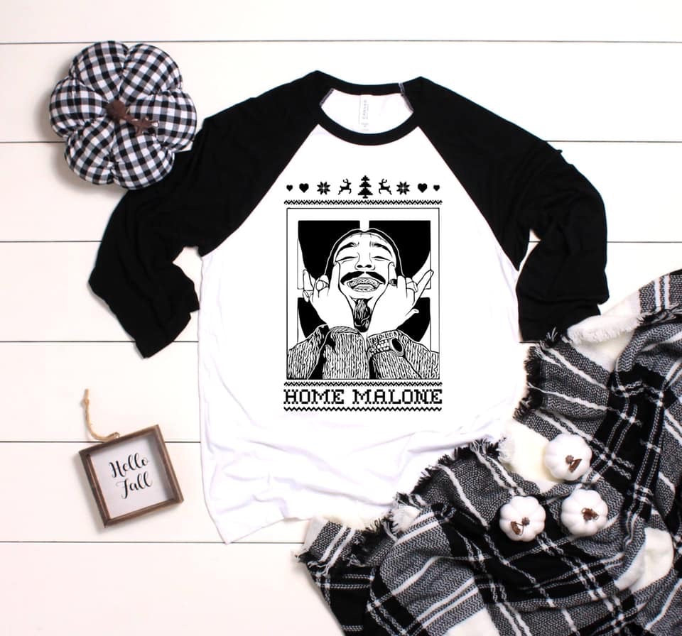 Home Malone 🎄❄️ Raglan Graphic Tee