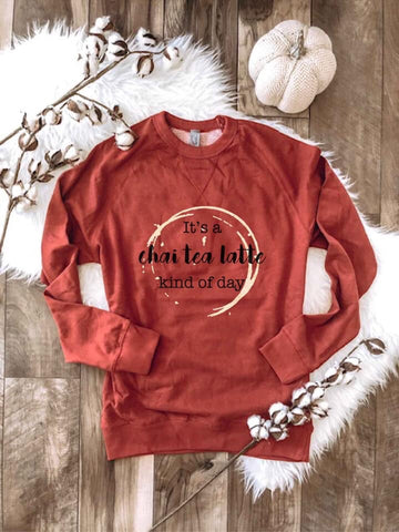 Chai Latte Kind Of Day - Rust Raglan Sweater