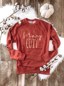 Stay Cozy Raglan Sweater - Rust