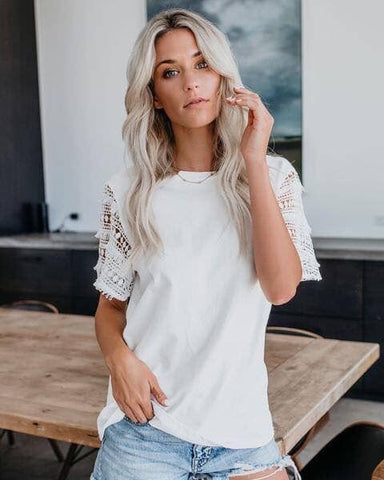 White Crochet Sleeve Top