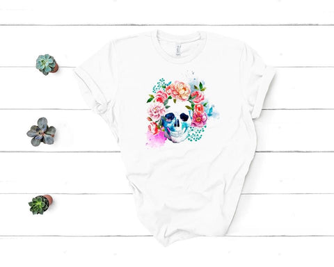 Watercolor Skull + Florals 🌸 Graphic Tee