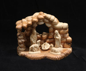 Nativity Family in Rocklike Cave - Small
